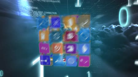 html : Digital animation of online and application icons for social media in squares arranged in cube rotating in the screen with a background of the night sky with clouds while program and binary codes move. Stock Footage