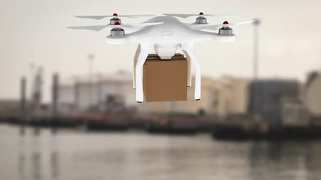 pairar : Digital animation of a white drone hovering while carrying a cardboard box. Background shows a blurred image of a port.
