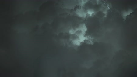 electric strike : Digital animation of the sky with dark clouds and lightning moving around
