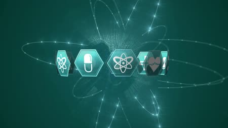 evrensel : Digital animation of different medical icons in hexagons arranged in a circular form while background shows a light exploding and a globe appears while surrounded by glowing lights and rotating.