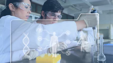 geny : Digital composite of diverse scientists in a laboratory transferring liquids through a pipette while foreground shows a DNA double helix rotating and digital bodies inside a digital interface.