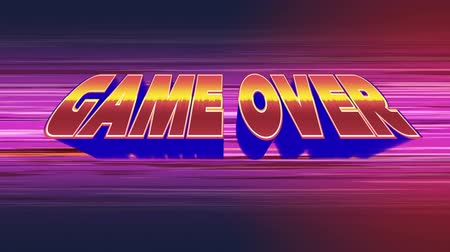 vintage : Digital animation of Game Over text zooming in the screen while background shows blue and red gradient with colorful lines. Stock Footage