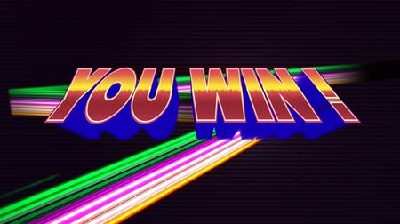 you win : Digital animation of a You Win text appearing in the screen while colorful lines move in the dark background.
