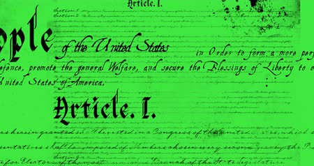 tenso : Digital animation of a written constitution of the United States moving in the screen against a yellow green background 4k