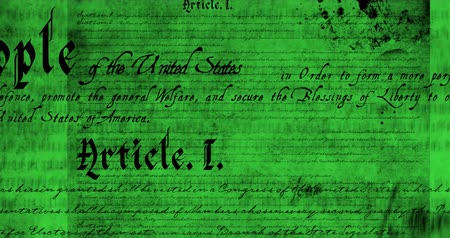 prohlášení : Digital animation of a written constitution of the United States moving in the screen against a green background. 4k