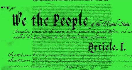 tenso : Digital animation of a written constitution of the United States moving in the screen against a green background. 4k