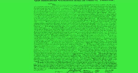 prohlášení : Digital animation of written constitution of the United States moving in the screen against green background 4k