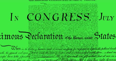 tenso : Digital animation of written constitution of the United States moving in the screen against green background 4k