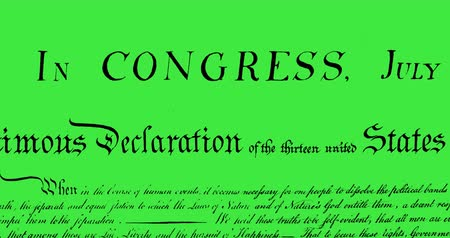 yazılı : Digital animation of written constitution of the United States moving in the screen against a green background. 4k