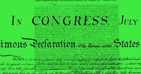 tenso : Digital animation of written constitution of the United States moving in the screen against green background. 4k