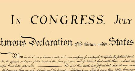 escrito : Digital animation of written constitution of the United States moving in the screen against beige background. 4k