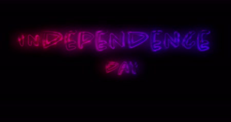 レタリング : Digital animation of Independence day text in red and blue gradient lines against black background 4k 動画素材