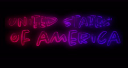 mayúsculas : Digital animation of United States of America text in red and blue gradient lines against a black background. 4k