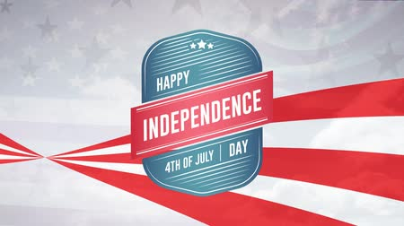 escrita : Digital animation of Happy Independence Day and 4th of July greeting in digital badge zooming out in the screen with a background of red stripes and stars