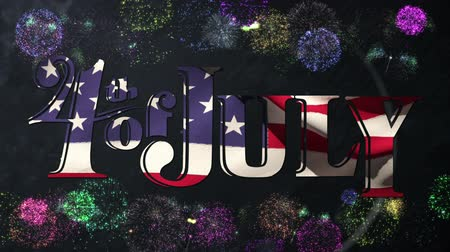 escrito : Digital animation of 4th of July text with American flag waving while background shows different colors of fireworks exploding.