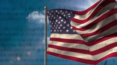 gurur : Digital animation of written constitution of the United States moving in the screen with flag while background shows the sky with clouds. Stok Video