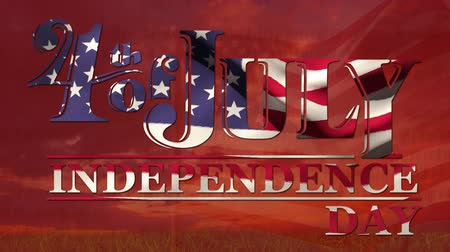 yazılı : Digital animation of 4th of July, Independence day text with American flag zooming out int he screen with written constitution of the United States. Background shows American flag waving outdoors in a pole standing in the grass field and the view of the s