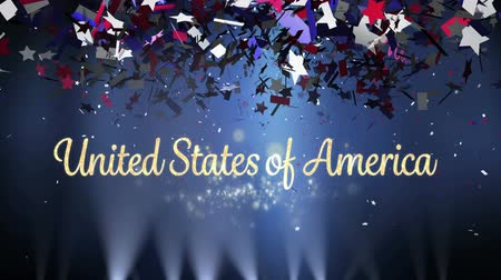 usa independence day : Digital animation of gold United States of America text with silver bokeh lights while background shows lights moving and colorful confetti slowly falling in the screen