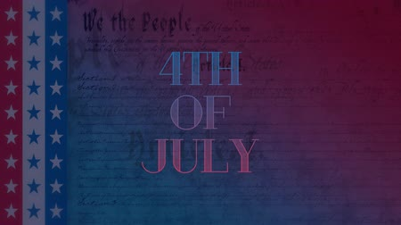 alkotmány : Digital animation of 4th of July text zooming out in the screen while background shows the written constitution of the United States with stars on three stripes on the left side in red, white, and blue