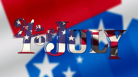 kaligrafie : Digital animation of 4th of July text with American flag waving design zooming out in the screen and a background of red and blue with white stars