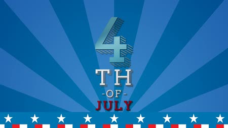 написанный : Digital animation of 4th of July text zooming out in the screen with a background of blue stripes with red white stripes and stars Стоковые видеозаписи