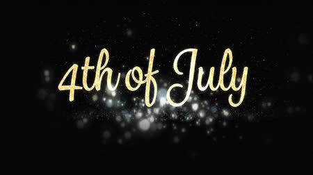 usa independence day : Digital animation of gold 4th of July text with bokeh appearing in the screen while colorful fireworks explode in the background