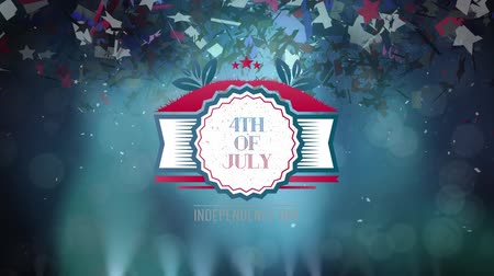 alkotmány : Digital animation of 4th of July text in banner zooming out in the screen while dark background shows lights move and colorful confetti slowly fall in the screen.