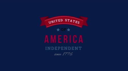 タグクラウド : Digital animation of United States of America, Independent since 1776 text in banner zooming out in the screen against a blue background