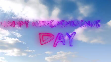 написанный : Digital animation of Happy Independence Day greeting in glowing red and blue gradient lines with a background of the sky with clouds Стоковые видеозаписи