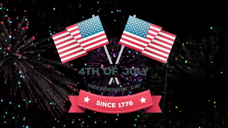usa independence day : Digital animation of 4th of July, Independence day since 1776 text in banner with two American flags zooming out in the screen. Background shows colorful fireworks exploding against a black background.