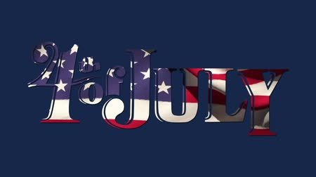 usa independence day : Digital animation of 4th of July text with American flag design zooming out in the screen against a blue background