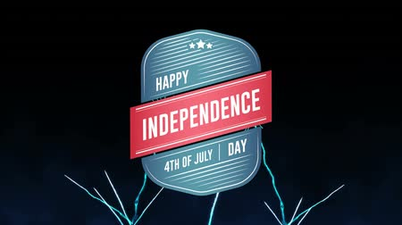 usa independence day : Digital animation of Happy Independence Day, 4th of July text in badge zooming out in the screen while blue fireworks explode against the black background Stock Footage