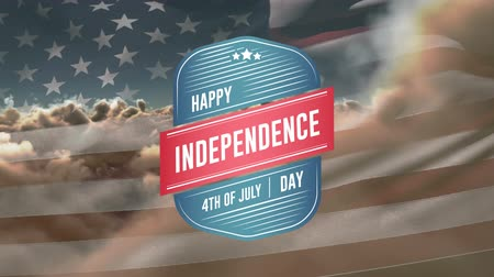 rukopisný : Digital animation of Happy Independence Day, 4th of July text in badge zooming out in the screen with American flag waves and a background of the sky with clouds