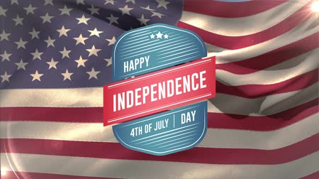 írott : Digital animation of Happy Independence Day, 4th of July text in badge zooming in the screen while background shows American flag waving.