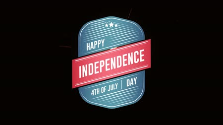 usa independence day : Digital animation of Happy Independence Day, 4th of July text in badge zooming out in the screen against a black background with lighted sparkle Stock Footage