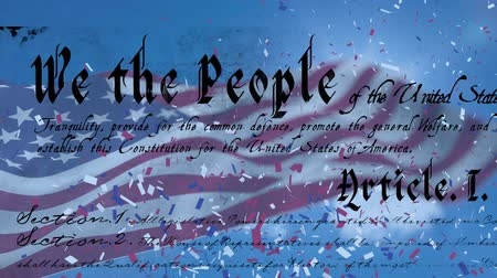 demokracie : Digital animation of the written constitution of the United States and American flag waving with colorful confetti exploding in the screen Dostupné videozáznamy