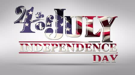 gurur : Digital animation of 4th of July, Independence day text with American flag waving design against a white background Stok Video