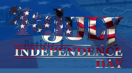 insignie : Digital animation of 4th of July,  Independence day text zooming out in the screen while written constitution of the United States move in the screen. Background shows an American flag waving and military tag.