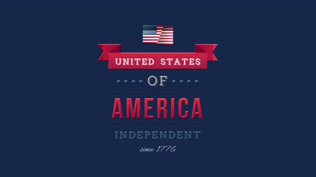 yazılı : Digital animation of United States of America, Independent since 1776 text in banner zooming out in the screen against a blue background