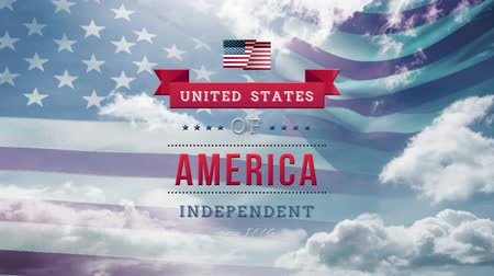 escrita : Digital animation of United States of America, Independent text in banner zooming out in the screen while background shows American flag waving and the sky with clouds