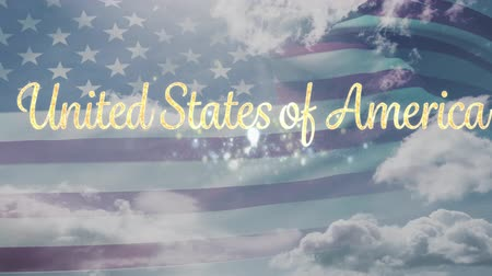 タグクラウド : Digital animation of gold United States of America text with flag waving and a background of the sky with clouds