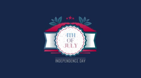írott : Digital animation of 4th of July, Independence day text in banner zooming out in the screen against a blue background