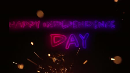 yazılı : Digital animation of a Happy Independence day text in red and blue gradient while a lighted sparkle flickers in the dark background for fourth of July. Stok Video