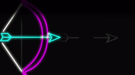 sending : Animation of neon style bow and arrow sign in pink, white and blue. Bow shooting arrow against a black background