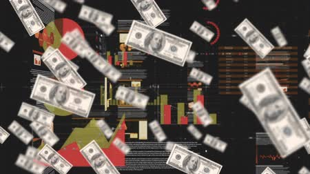 részvények : Animation of floating dollar bills drifting towards the viewer in foreground while statistical graphs and financial information move behind, on a black background
