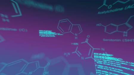パープル : Animation of text and digital data and molecules are displayed on purple background 動画素材