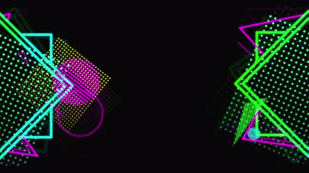 konsola : Animation of neon geometric shapes appearing and disappearing on black background