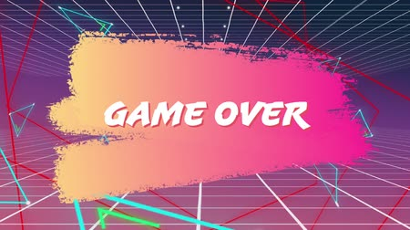 konsola : Animation of the words game over coloured white and red, while graphic shapes move on pink and yellow background