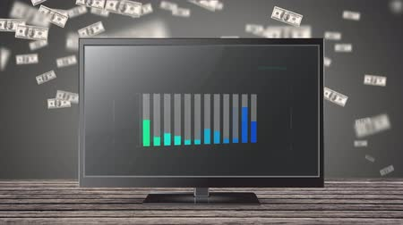 számvitel : Animation of a gray bar chart appearing from left to right on a flatscreen and filling to different levels with green and blue colours while floating dollar bills rise behind Stock mozgókép
