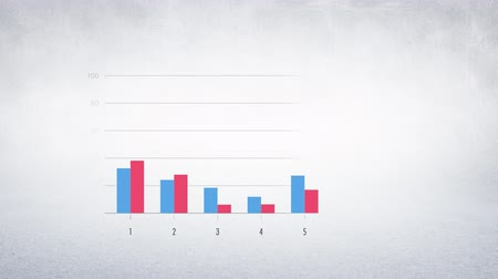 karşılaştırmak : Animation of red and blue graphs appearing on grid Stok Video